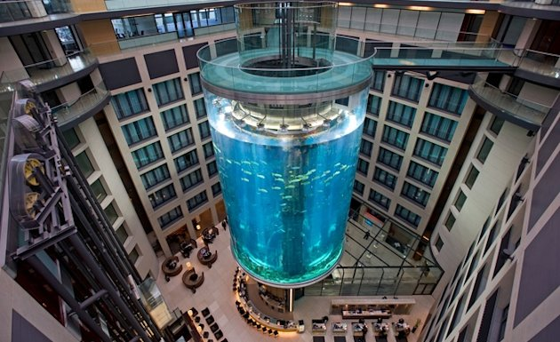 The elevator at the AquaDom in Berlin travels up the middle of the 82-foot tall aquarium. (Caro/Alamy)