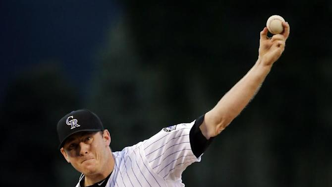 Colorado Rockies starting pitcher Tyler Matzek throws to the plate against the Los Angeles Dodgers during the first inning of a baseball game Tuesday, Sept. 16, 2014, in Denver. (AP Photo/Jack Dempsey)