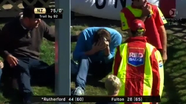 Fan hit in head with cricket ball