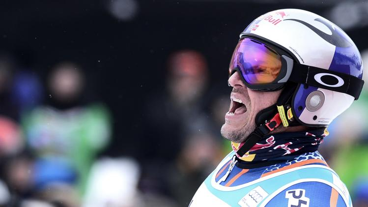 Svindal of Norway reacts to his 11th place finish in the men's World Cup Giant Slalom ski race in Beaver Creek