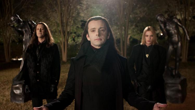 "This film image released by Summit Entertainment shows Christopher Heyerdahl, left, Michael Sheen, center, and Jamie Campbell Bower in a scene from ""The Twilight Saga: Breaking Dawn Part 2."" (AP Photo/Summit Entertainment, Andrew Cooper)  Ph: Andrew Cooper, SMPSP © 2011 Summit Entertainment, LLC.  All rights reserved."