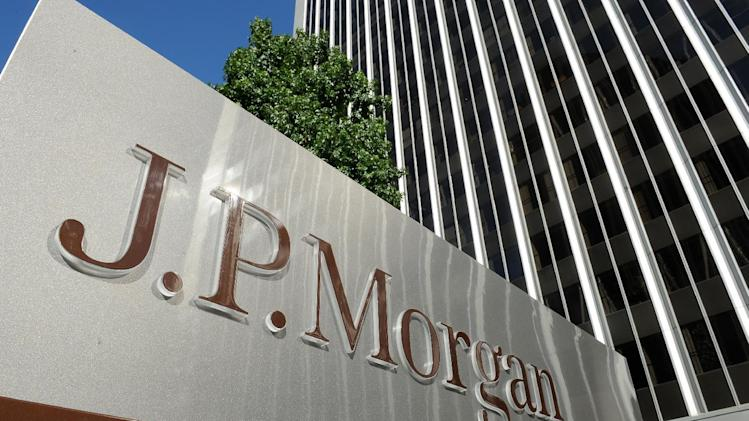 This August 8, 2013 photo shows a JPMorgan sign in Los Angeles, California