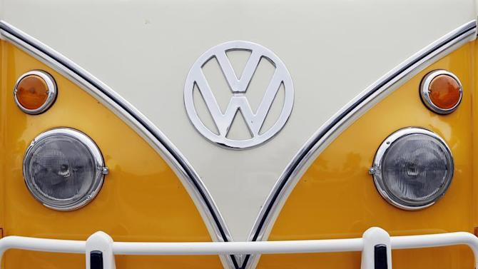 The Volkswagen logo is seen on a Kombi minibus during a Kombi fan club meeting in Sao Bernardo do Campo