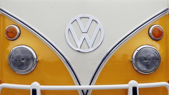 The Volkswagen logo is seen on a Kombi minibus during a Kombi fan club meeting in Sao Bernardo do Campo