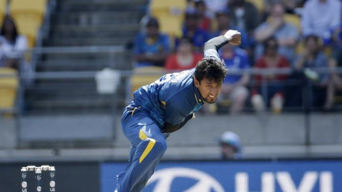 Sri Lanka's Suranga Lakmal bowls during their Cricket World Cup match against England in Wellington