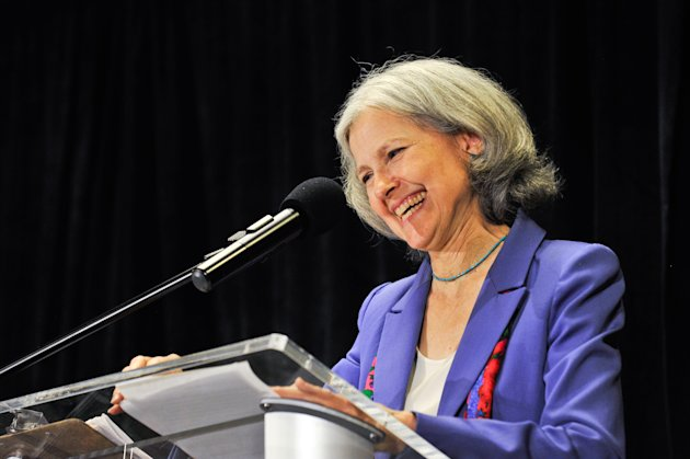 Green Party presidential candidate Jill Stein delivers her acceptance speech at the Green Party&#39;s convention in Baltimore on Saturday, July 14, 2012. Stein, a doctor who ran against Mitt Romney for Massachusetts governor a decade ago won the chance to challenge him again on Saturday, this time as the Green Party&#39;s presidential nominee. The internist from Lexington, Mass. blasted both Romney and President Barack Obama, saying both had become too dependent on donations from corporations in order to acquire office at the expense of the nation&#39;s citizens. (AP Photo/Laura-Chase McGehee)