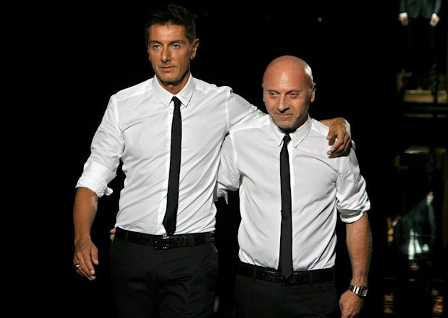 Domenico Dolce (R) and Stefano Gabbana pictured after presenting a Dolce & Gabbana collection in Milan on June 23, 2007