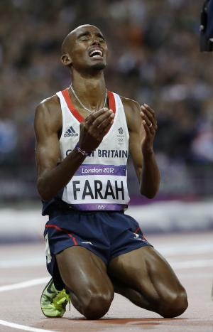 Britain's Mo Farah reacts as he wins gold in the men's 10,000-meter final during the athletics in the Olympic Stadium at the 2012 Summer Olympics, London, Saturday, Aug. 4, 2012. (AP Photo/Anja Niedringhaus)