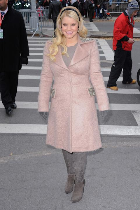 Jessica Simpson in a disproportionate coat
