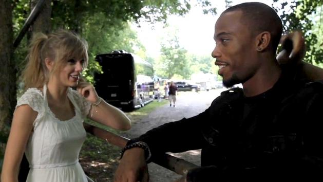 Taylor Swift and B.o.B. on the set of their music video 'Both Of Us' -- Atlantic Records