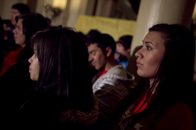 <p>               Latina high school students attend a news conference and rally presenting a bill that could make the children of illegal immigrants eligible for in-state tuition, at the State Capitol in Denver, Tuesday, Jan. 15, 2013. (AP Photo/Brennan Linsley)