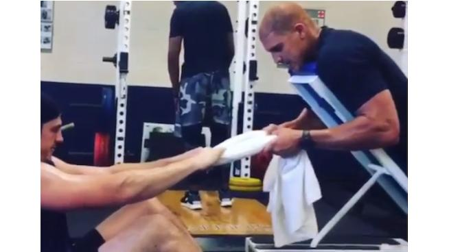 WATCH: Jimmy Graham and Russell Wilson's Partner-Resisted Towel Row