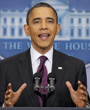 President Barack Obama gestures during a news conference in the James Brady Press Briefing Room of the White House in Washington, Tuesday, March 6, 2012.  (AP Photo/Pablo Martinez Monsivais)