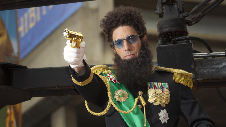 British actor Sacha Baron Cohen, who plays Admiral General Aladeen, arrives for the World Premiere of 'The Dictator', at a cinema in Soutbank in central London, Thursday, May 10, 2012. (AP Photo/Joel Ryan)
