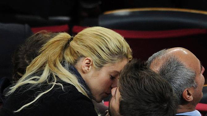 Shakira and Gerard Pique Watch Barcelona v CA Osasuna