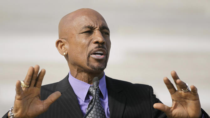 CORRECTS SPELLING TO MONTEL - Television personality Montel Williams speaks to supporters of a ballot measure that would legalize medical marijuana in the state at the Arkansas state Capitol in Little Rock, Ark., Thursday, Oct. 18, 2012. (AP Photo/Danny Johnston)