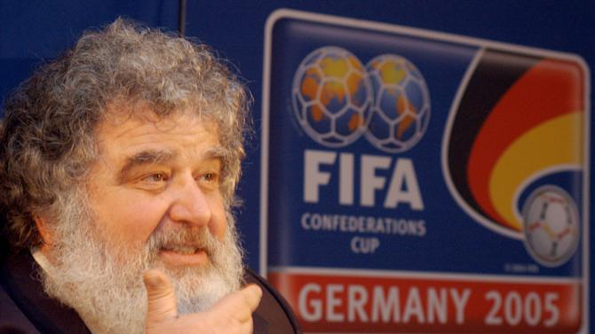 "FILE - In this Feb. 14, 2005 file photo, Confederation of North, Central American and Caribbean Association Football (CONCACAF) General Secretary Chuck Blazer attends a news conference in Frankfurt, Germany. FIFA has provisionally banned American executive committee member Blazer from all football-related activities for 90 days because of alleged ethics violations. FIFA said in a statement Monday, May 6, 2013, that it decided to provisionally ban Blazer ""based on the fact that various breaches of the FIFA Code of Ethics appear to have been committed by"" the American. (AP Photo/Bernd Kammerer, File)"