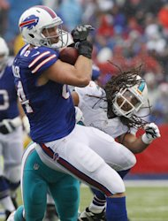 Buffalo Bills tight end Scott Chandler (84) makes a catch as he is hit by Miami Dolphins outside linebacker Philip Wheeler (52) during the first half of an NFL football game Sunday, Dec. 22, 2013, in Orchard Park, N.Y. (AP Photo/Bill Wippert)