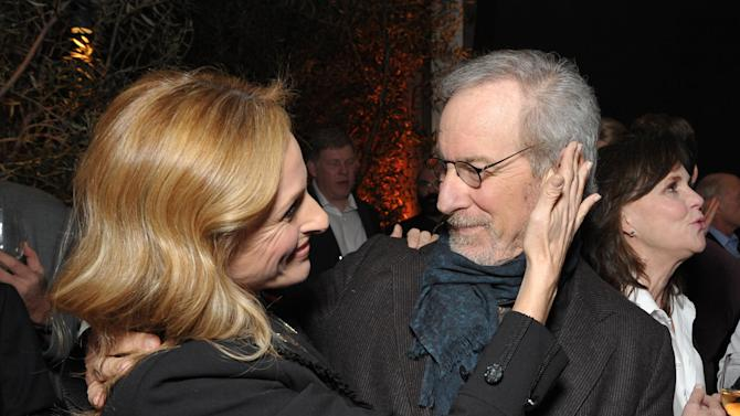 Marlee Matlin and Steven Spielberg attend The Hollywood Reporter Nominees' Night at Spago on Monday, Feb. 4, 2013, in Beverly Hills, Calif. (Photo by John Shearer/Invision for The Hollywood Reporter/AP Images)