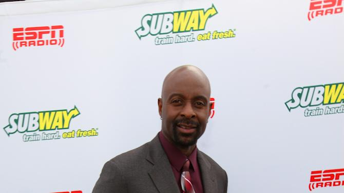 Hall of Famer wide receiver Jerry Rice seen outside of the Subway Fresh Take Green Room, on Friday, Feb. 1, 2013 in New Orleans. (Photo by Barry Brecheisen/Invision for SUBWAY/AP Images)