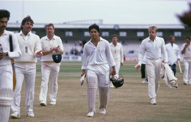 Sachin Tendulkar after scoring his first Test century at Old Trafford , August 14th 1990