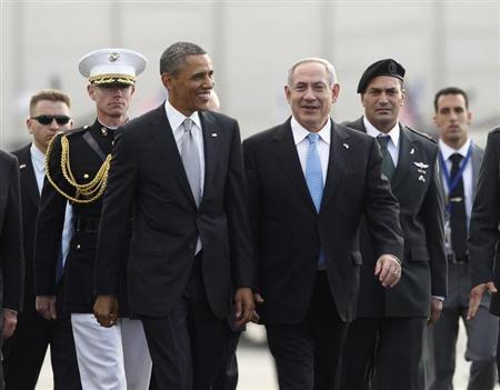 U.S. President Obama participates in a farewell ceremony with Israeli PM Netanyahu at Tel Aviv International Airport