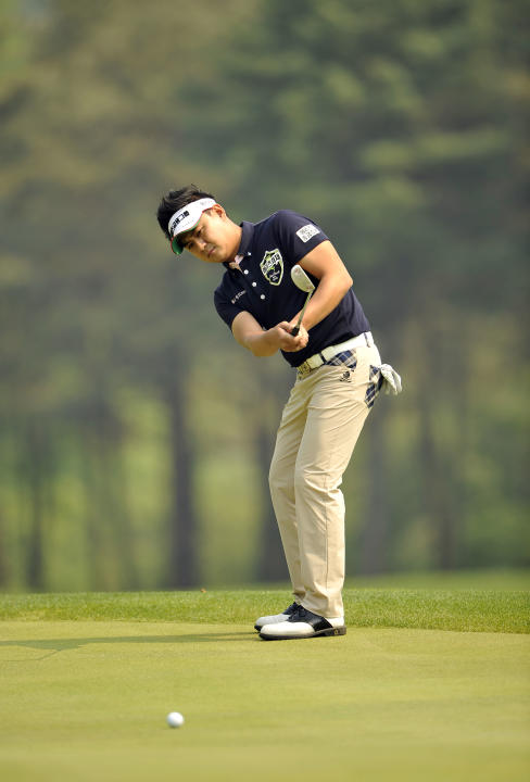 This handout photo provided by AsiaOne shows Park Sang-hyun of South Korea during the 31st GS Caltex Maekyung Open Golf Championship at the Nam Seoul Golf and Country Club in Seoul on May 10, 2012.  T