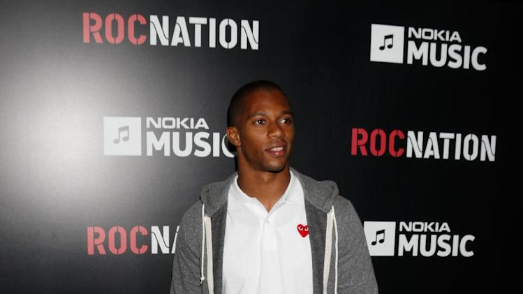Victor Cruz arrives at Roc Nation's Pre-Grammy Brunch at the Soho House on Saturday, Feb. 9, 2013 in Los Angeles. (Photo by Todd Williamson/Invision/AP)