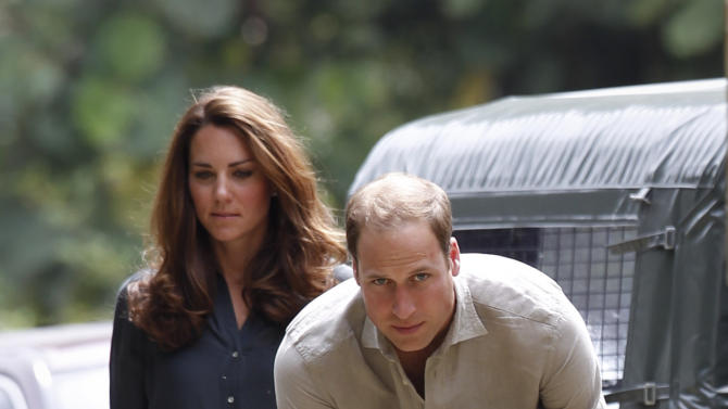 Prince William and his wife Kate, the Duke and Duchess of Cambridge arrive at Danum Valley Research Center in Danum Valley, Sabab, Malaysia, Saturday, Sept. 15, 2012. (AP Photo/ Vincent Thian, Pool)