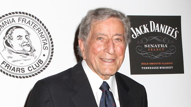 FILE - This June 24, 2013 file photo shows musician Tony Bennett at the Friars Club Roast of Don Rickles in New York. Bennett, who was one of Martin Luther King Jr.'s supporters during the civil rights era, will travel to the nation's capitol to pay tribute to King's vision as the March on Washington marks its 50th year. (Photo by Greg Allen/Invision/AP, File)