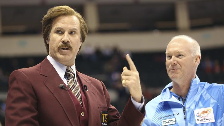 Will Ferrell as Ron Burgundy jokes with Skip Glenn Howard at the Canadian Olympic Curling Trials in Winnipeg