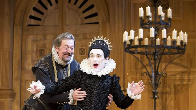 "This undated theater image released by Boneau/Bryan-Brown shows Mark Rylance as Olivia, right, and Stephen Fry as Malvolio during a performance of William Shakespeare's ""Twelfth Night."" Broadway will get a double dose of Mark Rylance this winter _ the two-time Tony Award-winning English actor will alternate between starring in ""Twelfth Night"" and ""Richard III.""Producers said Thursday that the Shakespeare's Globe productions of both Shakespeare plays will transfer from the West End to the Belasco Theatre starting Oct. 15. (AP Photo/Boneau/Bryan-Brown, Geraint Lewis)"