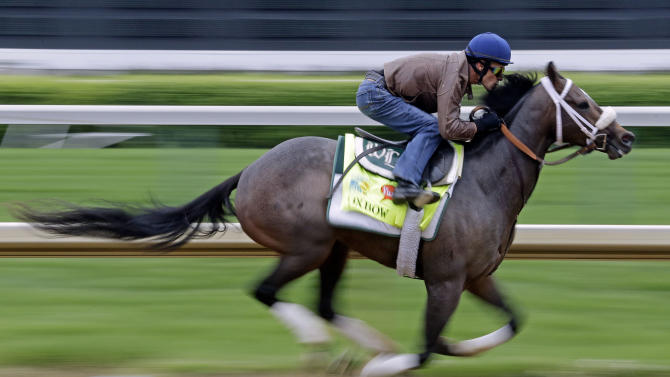 Jockey Gary Stevens rides Kentucky Derby entrant Oxbow for a workout at Churchill Downs Monday, April 29, 2013, in Louisville, Ky. (AP Photo/Morry Gash)