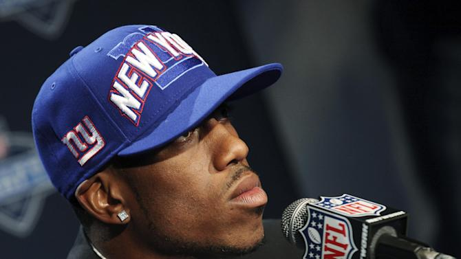 LSU wide receiver Rueben Randle speaks to reporters after being selected as the 63rd pick overall by the New York Giants in the second round of the NFL football draft at Radio City Music Hall, Friday, April 27, 2012, in New York. (AP Photo/John Minchillo)