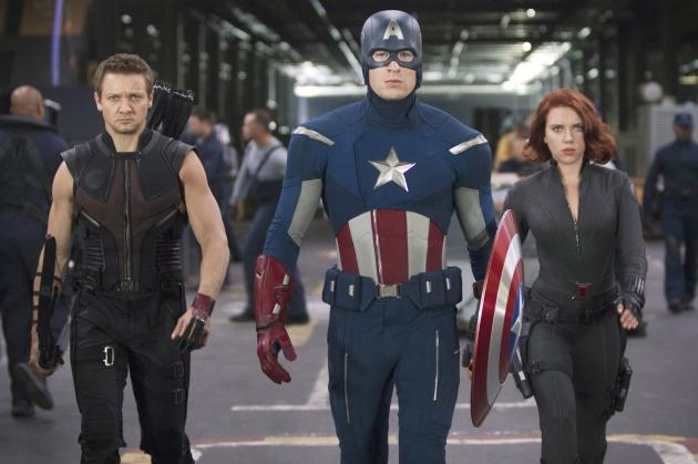 Jeremy Renner, Chris Evans and Scarlett Johansson in 'The Avengers' -- Marvel
