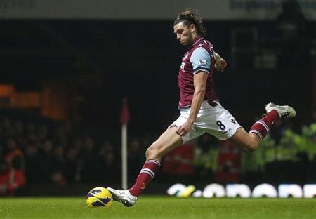 West Ham United's Andy Carroll scores a penalty against Tottenham Hotspur during their English Premier League soccer match in east London