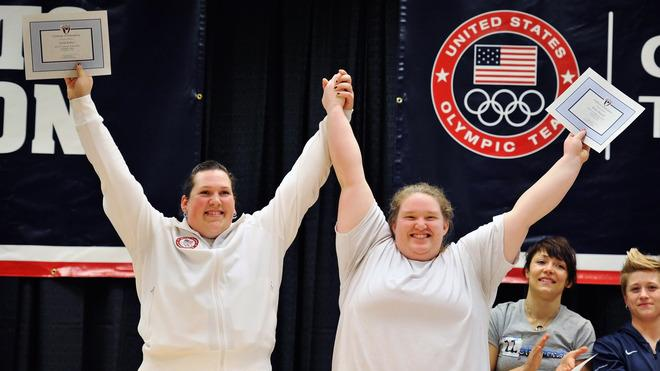 Sarah Roble And Holley Mangold Celebrate Being Named To The U.S. Women's Weightlifting Olympic Team Getty Images