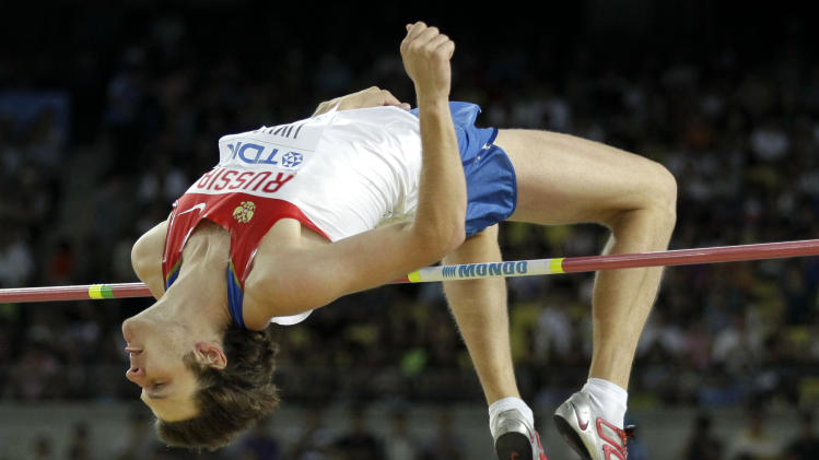 Russia's Ivan Ukhov competes in the Men's High Jump final  at the World Athletics Championships in Daegu, South Korea, Thursday, Sept. 1, 2011. (AP Photo/Matt Dunham)