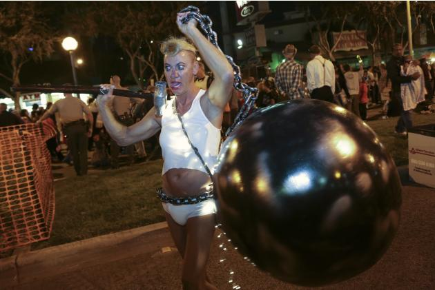 Polk dressed as singer Cyrus at the West Hollywood Halloween Costume Carnaval, in West Hollywood, California