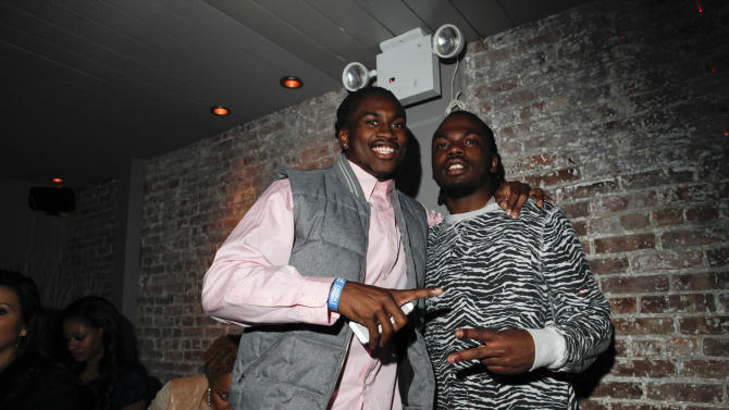 Cordarrelle Patterson and guest are seen at DSA Media Group's Official Professional Football Draft Classic Extravaganza on Tuesday, April 23, 2013 in New York City, New York. (Amy Sussman / AP Images for DSA Media Group)