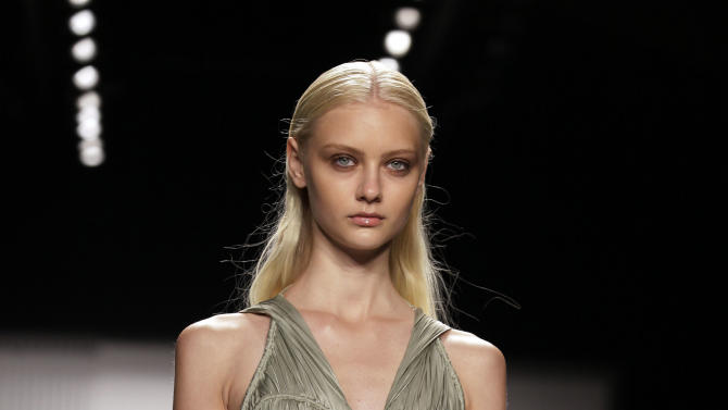 The J. Mendel Spring 2013 collection is modeled during Fashion Week in New York,  Wednesday, Sept. 12, 2012. (AP Photo/Richard Drew)