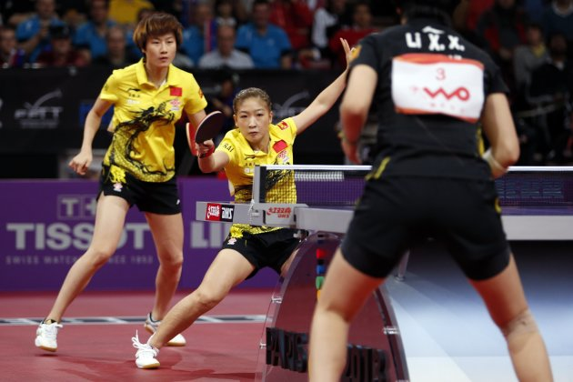 China's Liu and Ding play against compatriots Li and Guo in their women's doubles final at the World Team Table Tennis Championships in Paris