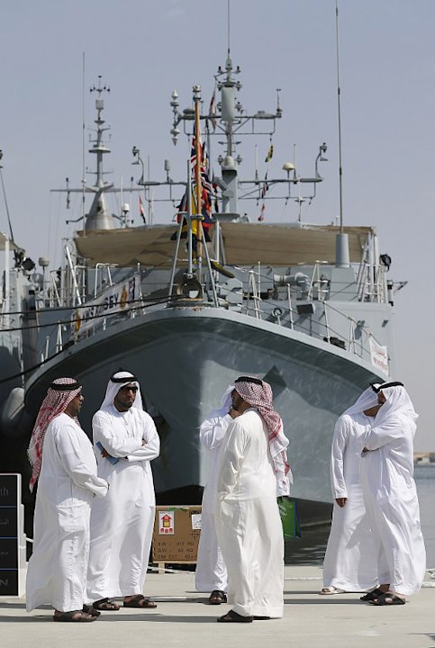 Arab visitors attend the opening of the International Defence Exhibition and Conference (IDEX) at the Abu Dhabi National Exhibition Centre in the Emirati capital on February 17, 2013. A top French def