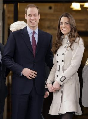 Prince William and Kate Middleton stand on the steps of City Hall during a visit to Belfast, Northern Ireland, March, 8, 2011 -- Getty Premium