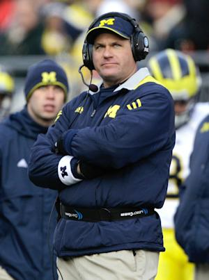 Michigan head coach Rich Rodriguez watches from the sidelines as his team takes on Ohio State during third quarter action in an NCAA college football game on Saturday, Nov. 27, 2010, in Columbus, Ohio. (AP Photo/Amy Sancetta)