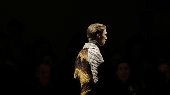 A model wears a creation for Missoni men's Fall-Winter 2013-14 collection, part of the Milan Fashion Week, unveiled in Milan, Italy, Sunday, Jan. 13, 2013. (AP Photo/Antonio Calanni)