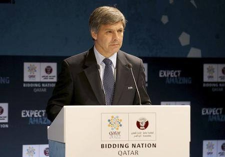 Chief FIFA inspector Harold Mayne-Nicholls speaks during a news conference for the FIFA Inspection Visit for the Qatar 2022 World Cup Bid in Doha