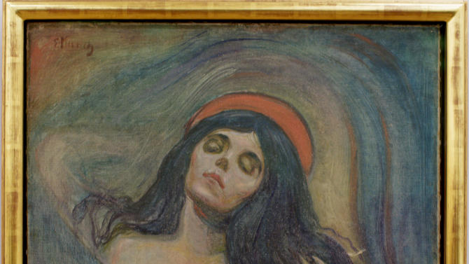 """FILE - In this May 21, 2008 file photo, Edvard Munch's painting """"Madonna"""" is displayed at the Munch Museum in Oslo. A Rotterdam museum art heist this week netted paintings by Pablo Picasso, Claude Monet, Henri Matisse and others — but it's not the first time that money-conscious thieves with an eye for beauty have targeted famous multimillion-dollar canvasses. (AP Photo/Scanpix Norway, Stian Lysberg Solum, File) NORWAY OUT"""