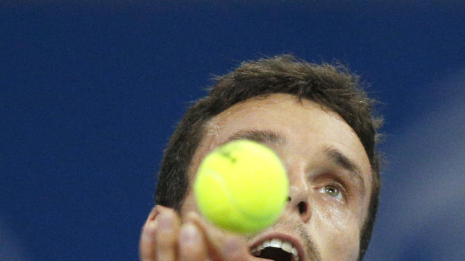Spain's Roberto Bautista Agut serves during his final match against Serbia's Troicki at Garanti Koza Sofia Open 2016 ATP Tennis tournament in Sofia