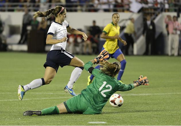 Brazil goalkeeper Luciana (12) guards against a shot by U.S. forward Alex Morgan (13) during the second half of an international friendly soccer match in Orlando, Fla., Sunday, Nov. 10, 2013. United S
